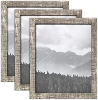 PF+A 8x10 Picture Frame Nordic Oxford Distressed Wood Effect, Real Glass, 3 Pack