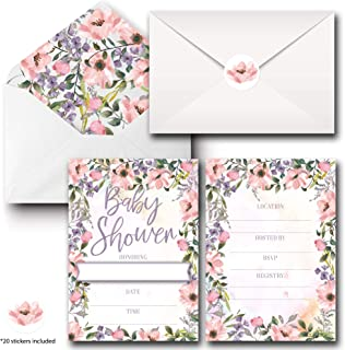 20 Pack Baby Shower Invitations for Girl, Floral Fill in Blank Invite Cards W/Envelopes and Matching Seal Sticker, 5x7 Double Sided Postcard Style Invites Card