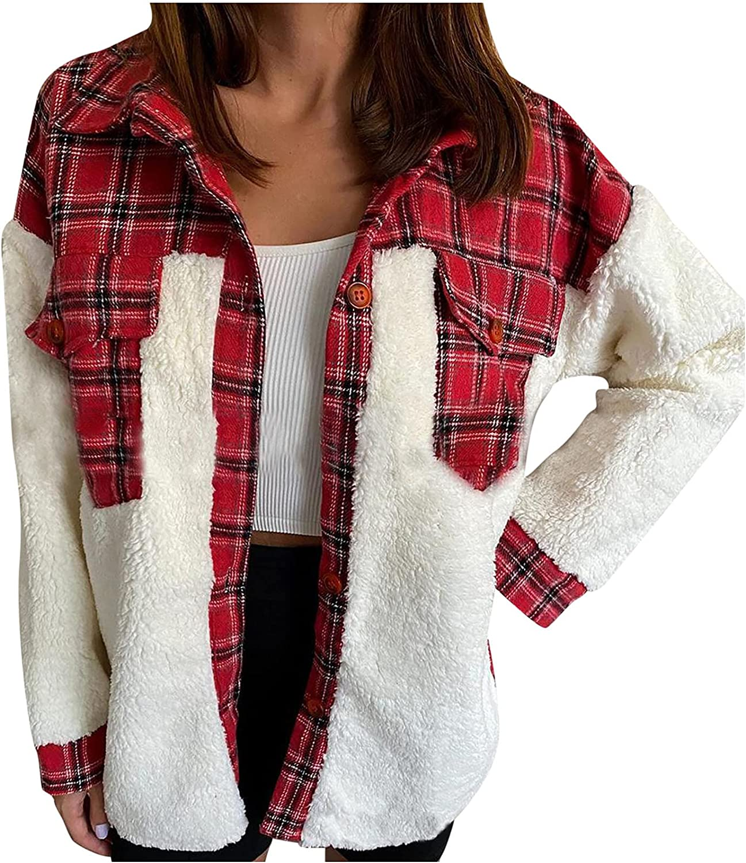 RFNIU Women'S Fur & Faux Fur Jackets & Coats Winter Fashion Leopard Stitching Lamb Wool Cardigan Casual Pockets Tops
