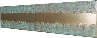 oro y pátina Abstracto A443 - díptico industrial con textura, arte original, pinturas abstractas con textura del artista K...