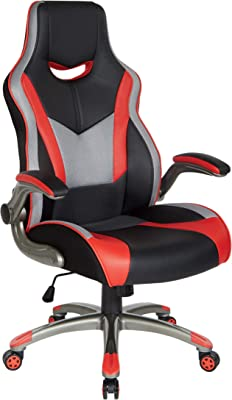 OSP Home Furnishings Uplink Ergonomic Adjustable High Back Gaming Chair, Black Faux Leather with Red Trim