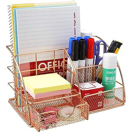 Comfook Organiseur de bureau Boîte de rangement organiseur et tiroir en métal Porte-styloaver Tiroir pour bureau école maison Or ros
