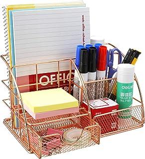 Comfook Organiseur de bureau Boîte de rangement organiseur et tiroir en métal Porte-styloaver Tiroir pour bureau école mai...