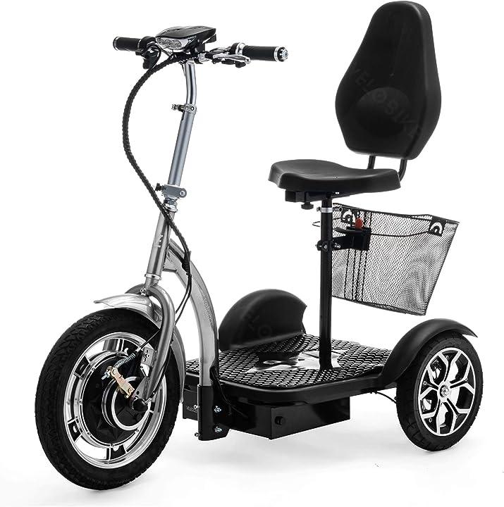 Scooter elettrico 3 ruote pieghevole trike zt16 (argento) veleco - scooter per anziani B082VH81R8