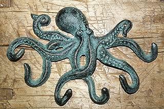 Vintage Antique Hooks Heavy Cast Iron Octopus Towel Hanger Coat Hooks Hat Hook, Key Rack Nautical Huge