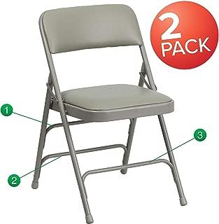 Flash Furniture 2 Pk. HERCULES Series Curved Triple Braced & Double Hinged Gray Vinyl Metal Folding Chair