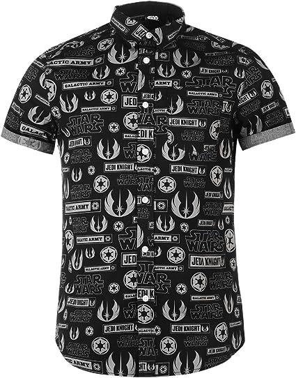 Star Wars All Over Print camisa negro para hombre botón de ...