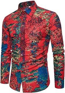 Owenqian Hombre Camisas, Camisas de Vestir de satén para Hombre Camisa de Fiesta de Baile Informal de Seda Ajustada para H...