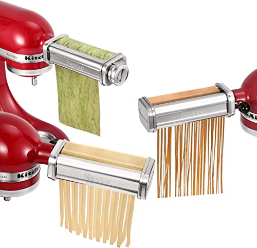 3-Piece Pasta Roller & Cutters Attachments fits KitchenAid Stand Mixers ,Included Pasta Sheet Roller, Spaghetti Cutte...