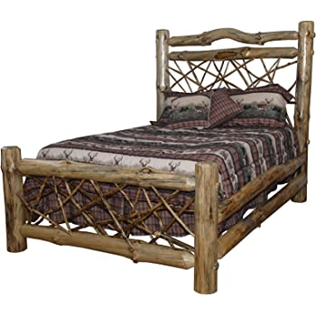 Amazon Com Rustic Pine Log Twig Style Bed King Size Amish Made In Usa Michael S Cherry Stain Furniture Decor