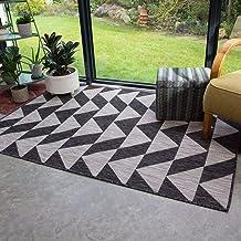 The Rug House Tapis Graphite Gris Extérieur Jardin Terrasse Tissage Plat Lavable Géométrique Résistant aux intempéries Tap...