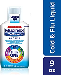 Mucinex Fast-Max Cold & Flu All-in-One Maximum Strength Liquid- Relieves Headache, & Sinus Congestion, Sore Throat, & Cough With Acetaminophen, Dextromethorphan, Phenylephrine & Guaifenesin, 9 oz.