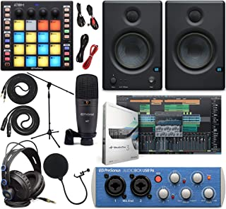 PreSonus AudioBox 96 Audio Interface (May Vary Blue or Black) Full Studio Bundle with Studio One Artist Software Pack, ATOM MIDI/Production Pad Controller, Eris E3 Pair Monitors & Instrument Cables