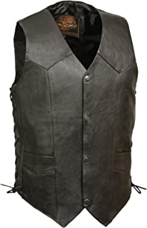 Milwaukee Leather Men's Classic Side Lace Biker Vest (Black, Size 50)