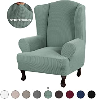 Turquoize Stretch Sofa Slipcover Sofa Cover Furniture Protector for Wingback Chair Cover 1 Piece Chair Slipcover Featuring Streth Jacquard Fabric with Elastic Bottom Anti-Slip Foam (Wing Chair, Cyan)