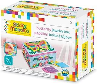 ORB The Factory Sticky Mosaics Butterfly Jewelry Box, Blue/Pink/Purple/Yellow, 8.26 X 4.37 X 6.37