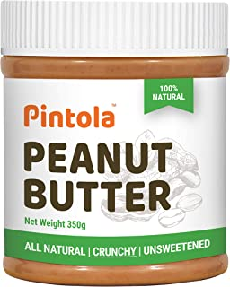 Pintola All Natural Peanut Butter (Crunchy) (350g) | Unsweetened | 30g Protein | Non GMO | Gluten Free | Vegan | Cholester...