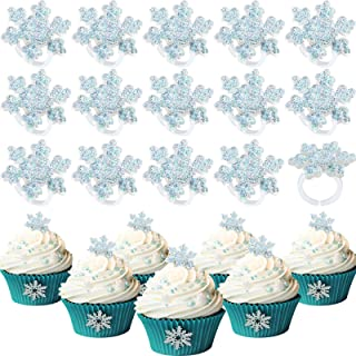 Blulu 48 Pieces Snowflake Cupcake Rings Snow Ring Cake Decorations Frozen Cupcake Topper Rings for Party Supplies