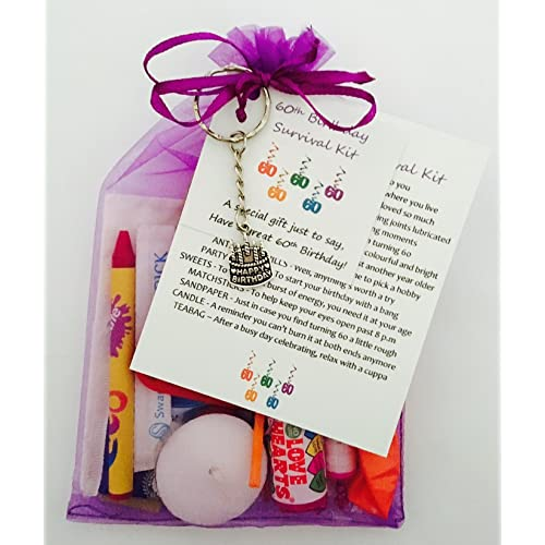 60th Birthday Survival Gift Kit Fun Happy Present For Him Her Choose From Lilac Or Blue Amazoncouk Office Products