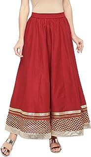Globus Red Embellished Flared Skirt