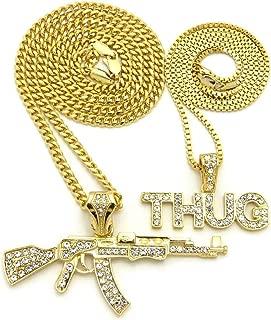 Shiny Jewelers USA Mens ICED Out Machine Gun AK 47 Chopper Thug Life Mob Pendant Chain Necklace Set