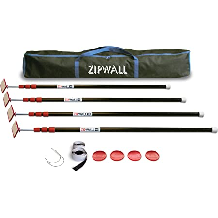 ZIPWALL ZP4 ZipPole 10 Foot Spring Barrier (Pack of 4) Loaded Poles for Dust Barriers, 4 Pack, Black