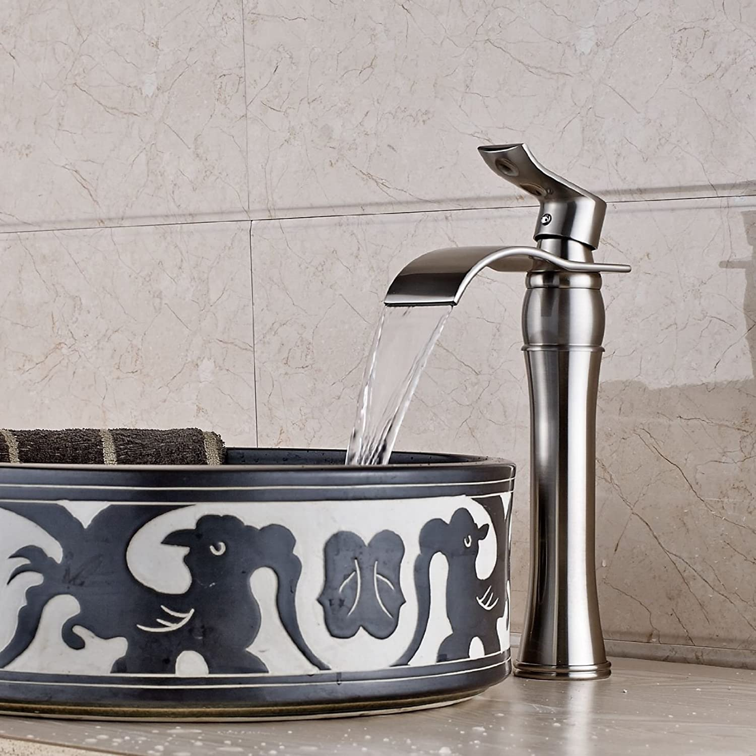 Inchant Single Lever Brushed Nickel Waterfall Bathroom Sink Faucet Brass Mixer Tap Deck Mount bath tub Vanity faucet Widespread Lavatory Faucets Tall body