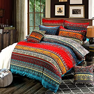 Bohemian Duvet Cover Set Full Colorful Floral Boho Striped Bedding Set Ultra Soft Microfiber Double Duvet Cover Southwestern Indian Tribal Reversible Bedding Exotic Style Decor Boho Comforter Cover