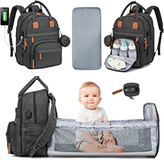 Baby Diaper Bag Backpack with Changing Station, 3 in 1 Baby Bag Backpack for Girls Boys,Mommy Bag with USB Charging Port, ...