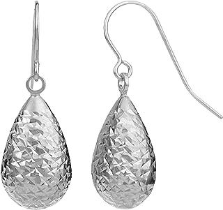 10k Gold Diamond-cut Pear Drop Earrings