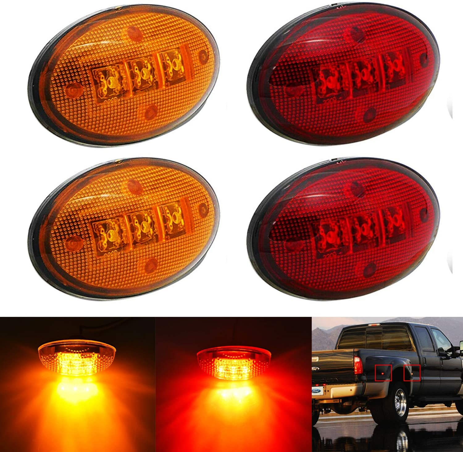 KEING Dually Bed Fender Max 82% OFF Side Marker Ford 1999-202 free Lights For LED