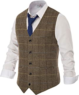 PAUL JONES Men's British Herringbone Tweed Vest Premium Wool Waistcoat - - XXL