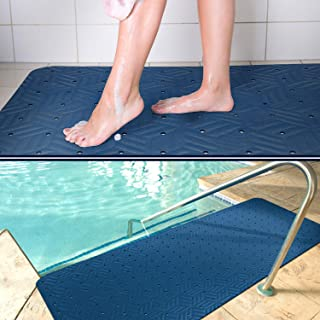 Wet Step Indoor/Outdoor Mat (2' x 3' Blue)–Non-Slip Antimicrobial Drainable Soft and Comfortable Anti-Fatigue Mat for Wet Areas – Locker Room, Shower, Swimming Pool Deck, Spa, Bathroom, by M+A Matting