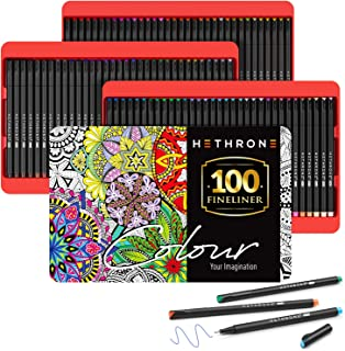 Hethrone 100 Colors Fineliner Pens Set 0.4mm Coloring Marker Pens for Journal Planner and Sketching, Fine Tip Pens for Kids and Adults