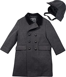 Little Boys' Toddler Faux Wool Dressy Coat with Hat (3T, Dark Charcoal)