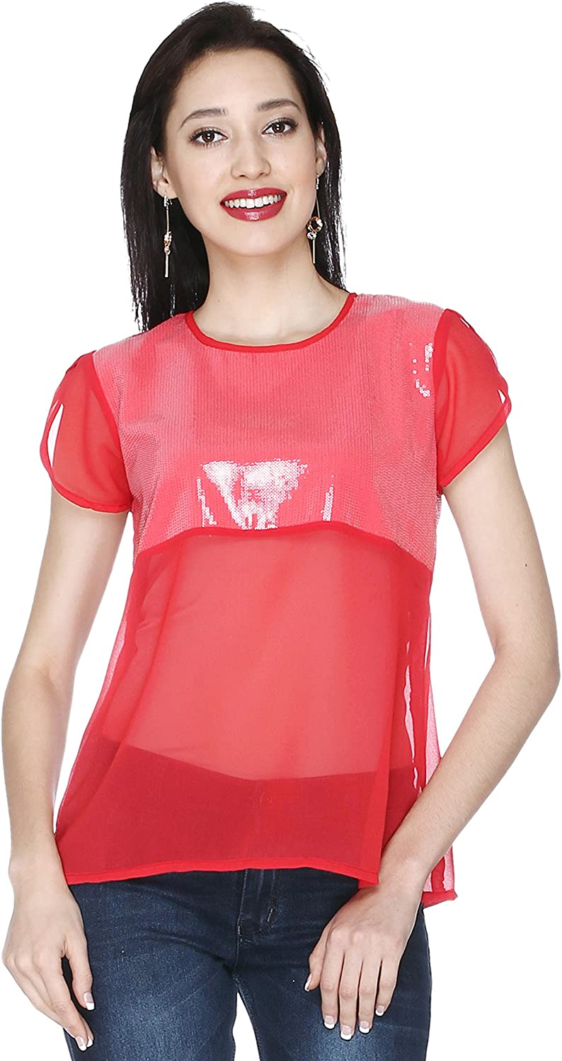 20Dresses Womens Sequins Partywear Red Short Sleeves Top