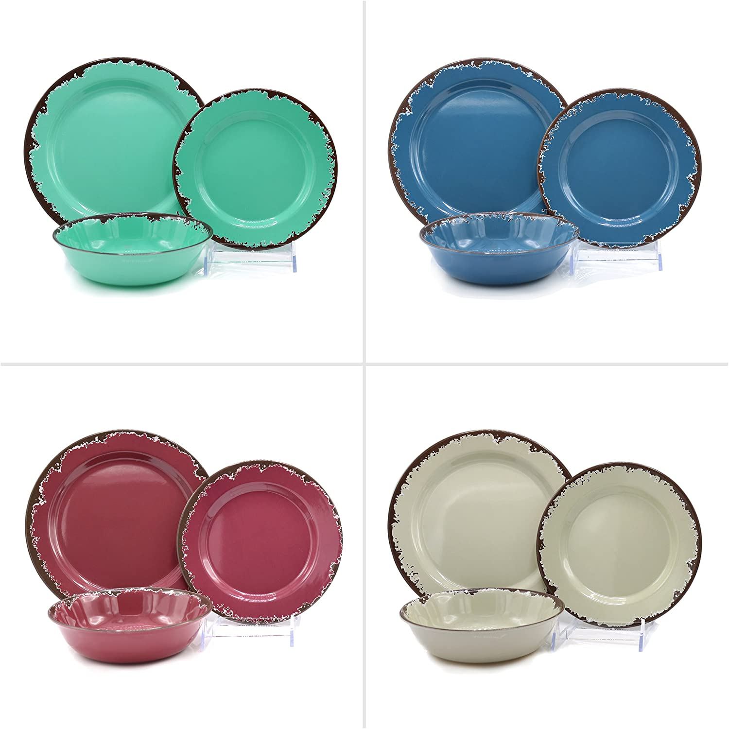Rustic Melamine Dinnerware 12 Pc Set Vintage-Inspired Way To Enjoy Casual Meals With A Charming Look By CTD Store