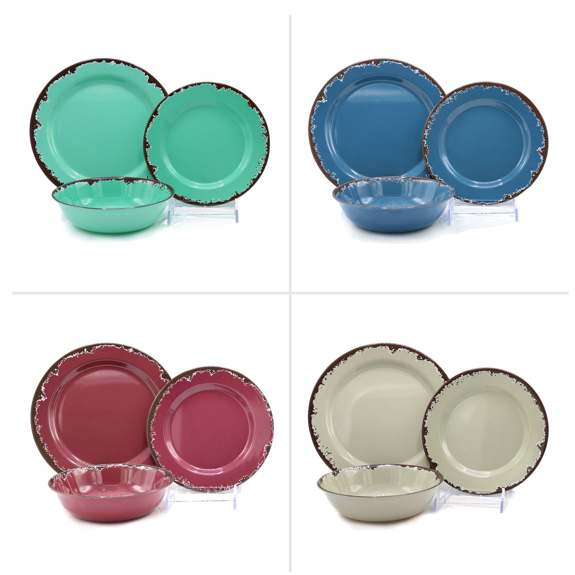 Rustic Melamine 餐具,12 件套,复古灵感,享受休闲用品,CTD 商店迷人的外观