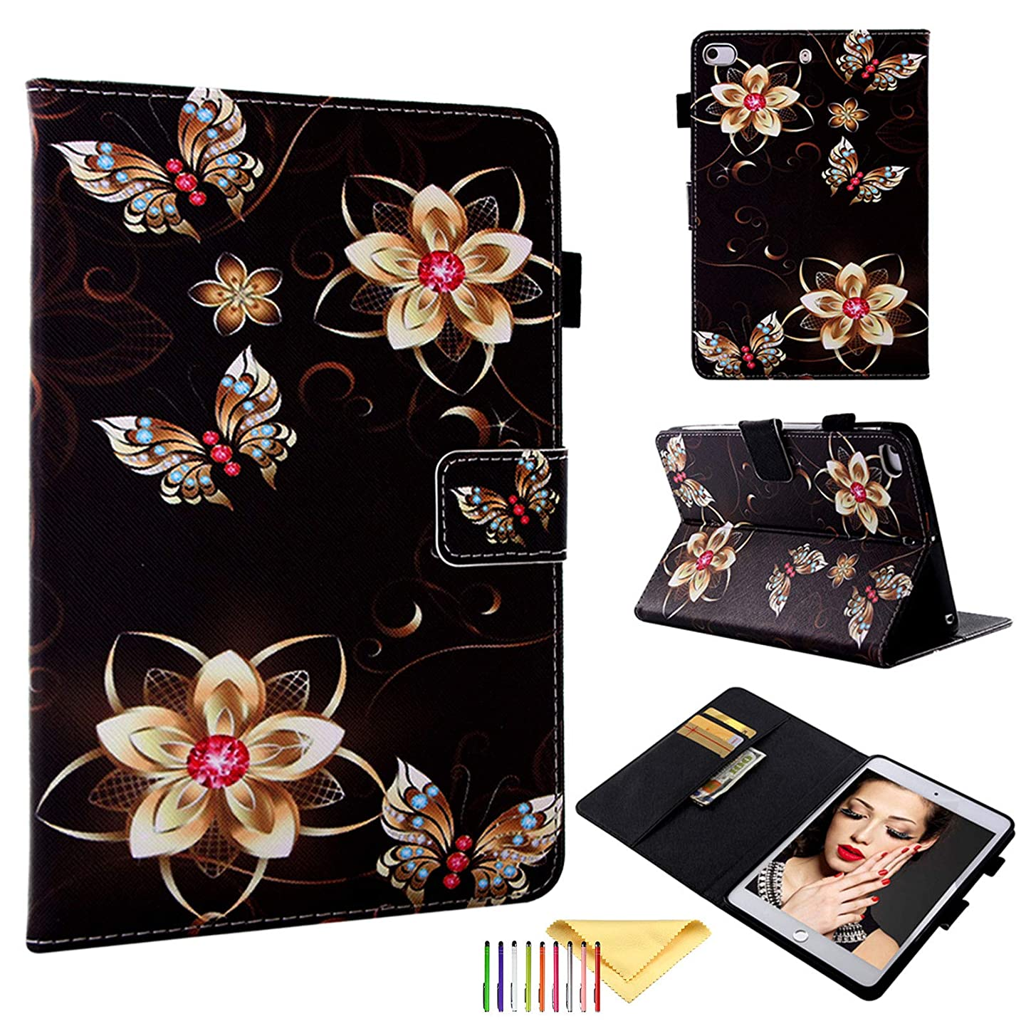 Universal Case for iPad Mini 5 4 3 2 1, Cookk Colorful Pattern PU Leather Skinshell [Anto Sleep/Wake] [Pencil Holder] [Card Slots] Smart Cover for Apple Mini 7.9 Inch, Gold Flower