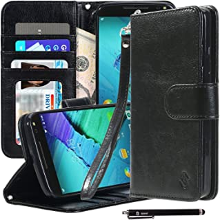Style4U Moto X Pure Edition Case, Moto X Style Case, Premium PU Leather Stand Wallet Case with ID Credit Card Cash Slots for Motorola Moto X Style, Moto X Pure Edition with 1 Stylus - Black