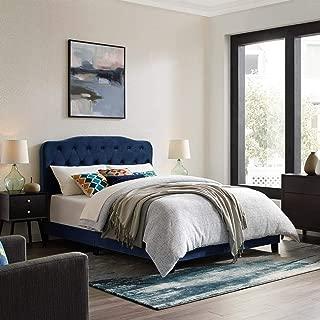 Modway Amelia Tufted Performance Velvet Upholstered King Bed in Navy