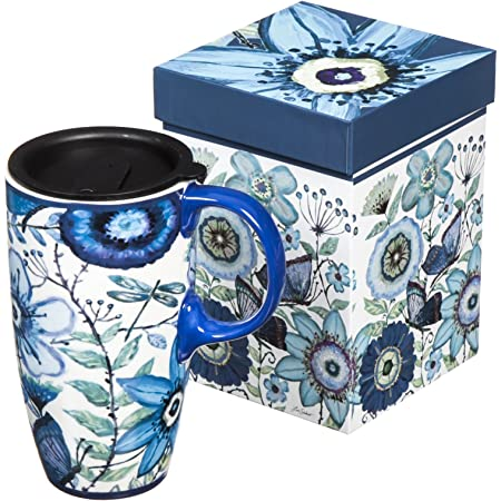 Cypress Home Shades of Indigo Flowers and Butterflies Ceramic Travel Coffee Mug 17 Oz
