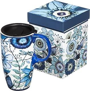 Shades of Indigo Flowers and Butterflies Ceramic Travel Coffee Mug 17oz