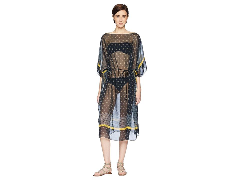 Stella McCartney Draping-Tie Print Kaftan (Navy Tie Print) Women