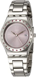 Swatch Women's Mauve Dial Stainless Steel Band Watch - YLS455G, pink