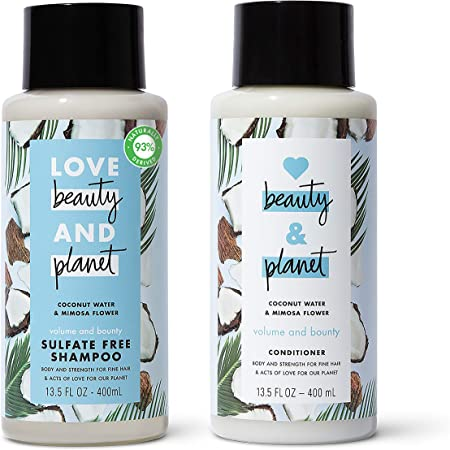 Love Beauty And Planet Volume and Bounty Thickening Shampoo and Conditioner For Fine Hair Care Coconut Water and Mimosa Flower, Paraben & Silicone Free, and Vegan, 13.5 Oz, 2 count