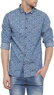 SHOWOFF Mens Blue Printed Casual Denim Shirt