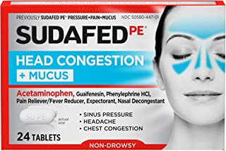 Best Sudafed PE Head Congestion + Mucus Tablets for Sinus Pressure, Pain & Congestion, 24 ct Review