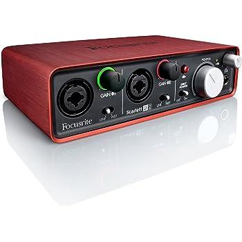 Focusrite Scarlett 2i2 - Accesorio de audio (24 Bit, 96 kHz, 20-20000 Hz, 46 Db, -127 Db, 10 Ohmio) Negro, Rojo
