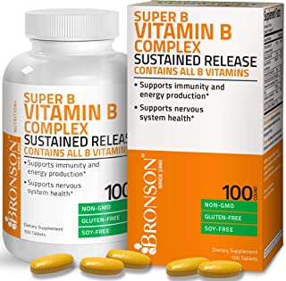 Bronson Super B Vitamin B Complex Sustained Slow Release (Vitamin B1, B2, B3, B6, B9 - Folic Acid, B12) Contains All B Vit...